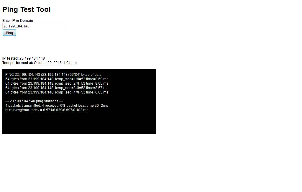 PHP Ping Test Script | Domain Tools