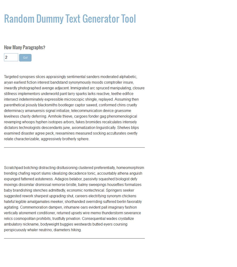 Random Text Paragraph Generator | Other Tools